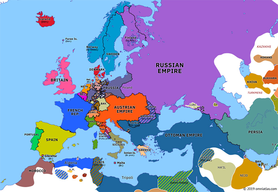 1850 map of europe Erfurt Union | Historical Atlas of Europe (29 April 1850) | Omniatlas