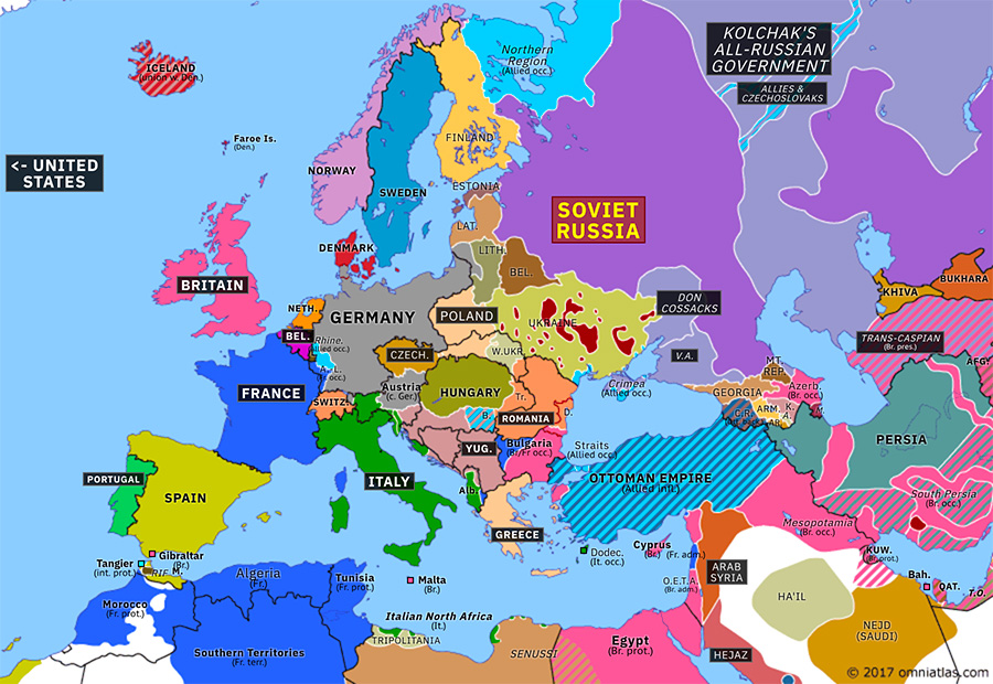 map of eastern europe 1918 New Countries in Eastern Europe | Historical Atlas of Europe (4