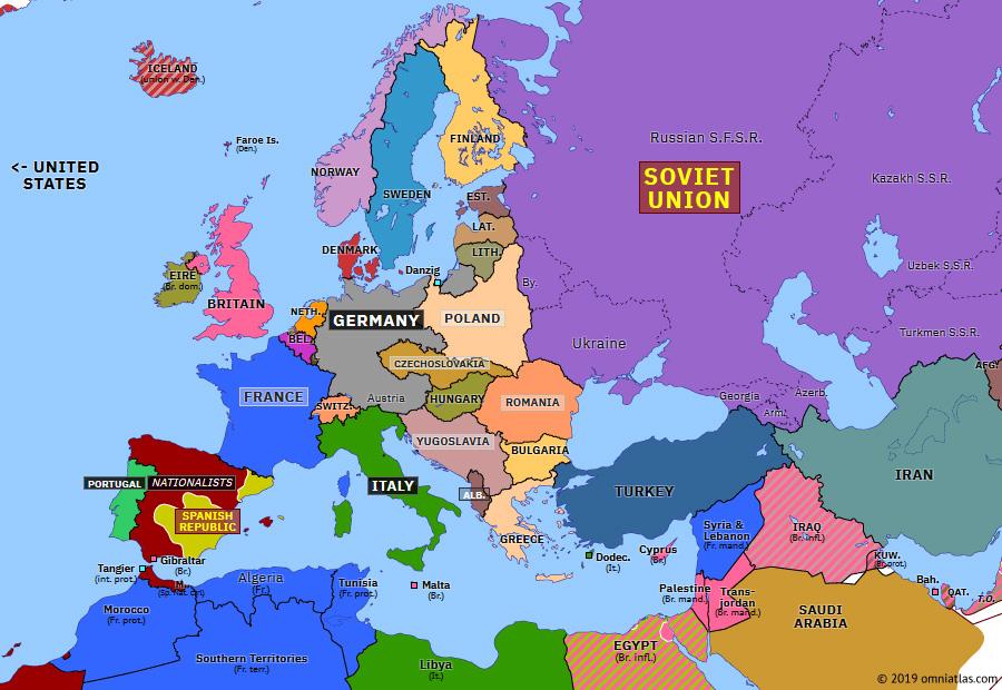 pre ww2 europe map 1938 Anschluss   Historical Atlas of Europe (13 March 1938)   Omniatlas