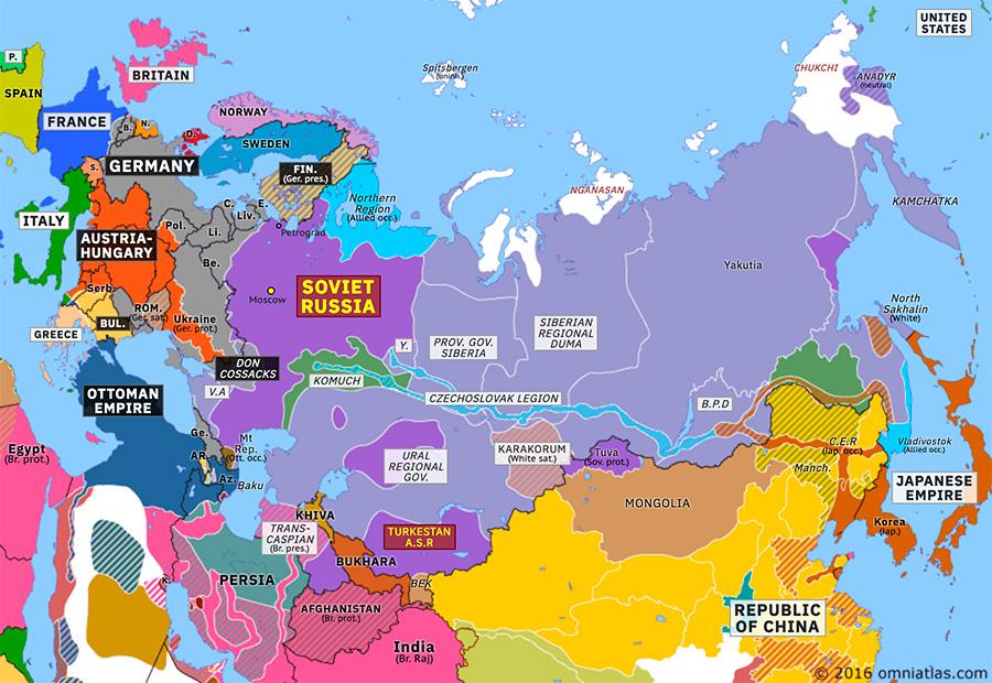 Allied Intervention In Russia Historical Atlas Of Northern Eurasia 1 September 1918 Omniatlas