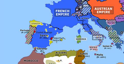 Political map of Europe & the Mediterranean on 07 Jan 1812 (Napoleonic Wars: Siege of Ciudad Rodrigo), showing the following events: Battle of Saguntum; Siege of Valencia; Siege of Ciudad Rodrigo.