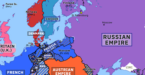 Political map of Europe & the Mediterranean on 24 Jun 1812 (Napoleonic Wars: French invasion of Russia), showing the following events: Treaty of Saint Petersburg; Treaty of Bucharest; Outbreak of War of 1812; French invasion of Russia.