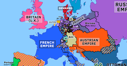Political map of Europe & the Mediterranean on 17 Nov 1813 (Napoleonic Wars: War of Liberation), showing the following events: Invasion of Kingdom of Italy; Treaty of Gulistan; Battle of Hanau; Dissolution of Confederation of Rhine; Frankfurt Proposals; Sixth Coalition in Holland.