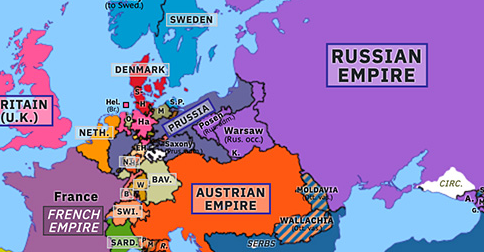 Political map of Europe & the Mediterranean on 03 May 1815 (Napoleonic Wars: Congress Poland), showing the following events: Second Serbian Uprising; Battle of Tolentino; Congress Poland.