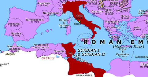 Political map of Europe & the Mediterranean on 02 Apr 238 (The Crisis of the Third Century: Year of the Six Emperors: Gordians I & II), showing the following events: Maximinus Thrax's Dacian War; Gordian I; Gordians I & II.