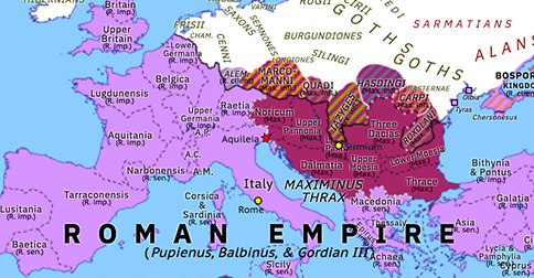 Political map of Europe & the Mediterranean on 09 May 238 (The Crisis of the Third Century: Year of the Six Emperors: Three vs Thrax), showing the following events: Proscription of Maximinus Thrax; Battle of Carthage; Pupienus, Balbinus, & Gordian III; Riots of Balbinus; Siege of Aquileia.