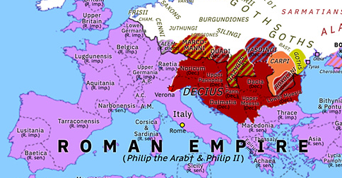 Historical Atlas of Europe 249: Decius vs Philip the Arab
