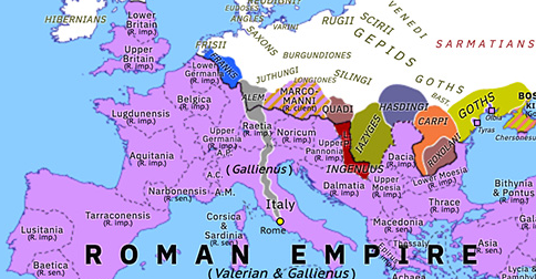 Historical Atlas of Europe 258: First Alemannic Invasion of Italy