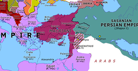 Political map of Europe & the Mediterranean on 11 Sep 260 (The Crisis of the Third Century: Thirty Tyrants), showing the following events: Regalianus; Revolt of Postumus; Revolt of the Macriani; Rise of Odaenathus.