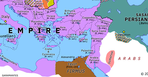 Political map of Europe & the Mediterranean on 11 Jul 273 (The Crisis of the Third Century: Revolt of Firmus), showing the following events: Aurelian's Carpic War; Septimius Antiochus; Firmus.
