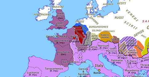Political map of Europe & the Mediterranean on 19 Jun 274 (The Crisis of the Third Century: Battle of Châlons), showing the following events: Faustinus; Battle of Châlons.