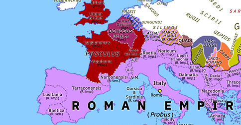 Political map of Europe & the Mediterranean on 18 Nov 280 (The Crisis of the Third Century (II): Proculus and Bonosus), showing the following events: Probus' Illyrian campaign; Lydius; Probus' Blemmyan War; Proculus; Bonosus; Probus' Frankish revolt.