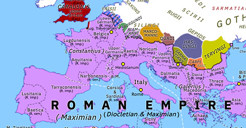Political map of Europe & the Mediterranean on 01 Mar 293 (Diocletian and the Tetrarchy: First Tetrarchy), showing the following events: Diocletian–Bahram II Treaty; Maximian vs Carausius; Second Quinquegentiani War; Burgundi; Tervingi; First Tetrarchy.
