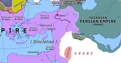 Historical Atlas of Europe 298: Galerius' invasion of Persia