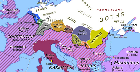 Political map of Europe & the Mediterranean on 10 Jun 311 (Diocletian and the Tetrarchy: Collapse of the Tetrarchy), showing the following events: End of Domitius Alexander; Arab incursions of Shapur II; Edict of Serdica; Fifth Tetrarchy; Reign of Maximinus Daza.