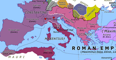 Political map of Europe & the Mediterranean on 28 Oct 312 (The Constantinian Dynasty: Battle of the Milvian Bridge), showing the following events: Constantine–Licinius alliance; Battle of Turin; Siege of Verona; Battle of the Milvian Bridge.