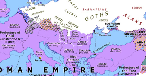 Political map of Europe & the Mediterranean on 28 Jul 336 (The Constantinian Dynasty: Constantine's Dacia), showing the following events: Calocaerus; Constantine's Limigantes War; Geberic vs Visimar; Dalmatius; Constantine Dacicus.