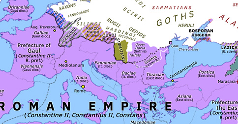 Historical Atlas of Europe 337: Sons of Constantine