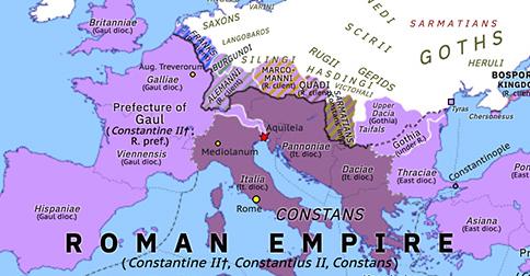 Historical Atlas of Europe 340: Battle of Aquileia