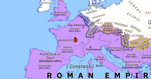 Political map of Europe & the Mediterranean on 18 Jan 350 (The Constantinian Dynasty: Magnentian Revolt), showing the following events: Prefecture of Illyricum; Expulsion of Ulfila; Advent of the Huns; Last Kushanshah; Magnentian Revolt.