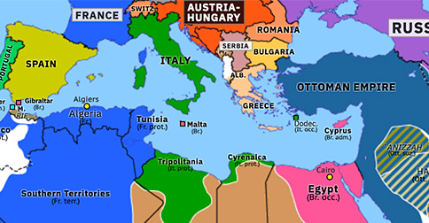 Political map of Northern Africa on 04 Aug 1914 (Scramble for Africa: Outbreak of the Great War), showing the following events: Violet Line; Ottoman-Saudi Treaty; Assassination of Franz Ferdinand; Outbreak of World War I; German declaration of war on Russia; French mobilization; German invasion of Belgium; British entry into World War I.