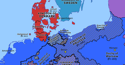 Political map of Northwest Europe on 23 Jun 1812 (Napoleonic Wars: Eve of the Russian Campaign), showing the following events: Conquest of Swedish Pomerania; Treaty of Paris; Franco-Austrian Alliance; Treaty of Saint Petersburg.