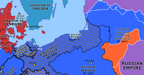 Political map of Northwest Europe on 14 Sep 1812 (Napoleonic Wars: Napoleon's Russian Campaign), showing the following events: French invasion of Russia; General Confederation of the Kingdom of Poland; Lithuanian Provisional Governing Commission; Treaty of Örebro; Siege of Riga; Fall of Moscow.