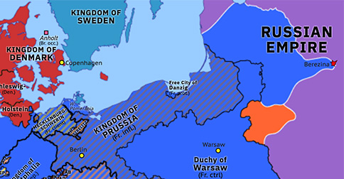Political map of Northwest Europe on 29 Nov 1812 (Napoleonic Wars: French retreat from Moscow), showing the following events: French abandon Moscow; Malet coup; Battle of Berezina.