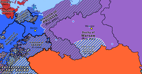 Political map of Northwest Europe on 28 Feb 1813 (Napoleonic Wars: Treaty of Kalisz), showing the following events: Marie-Louises; Siege of Danzig; Fall of the Duchy of Warsaw; Treaty of Kalisz.