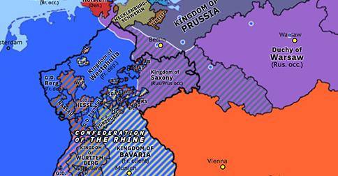 Political map of Northwest Europe on 02 Apr 1813 (Napoleonic Wars: Fall of Napoleonic Saxony), showing the following events: Fall of Napoleonic Saxony; An Mein Volk.