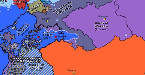 Political map of Northwest Europe on 04 Jun 1813 (Napoleonic Wars: Armistice of Pläswitz), showing the following events: Battle of Lützen; Battle of Bautzen; Armistice of Pläswitz.