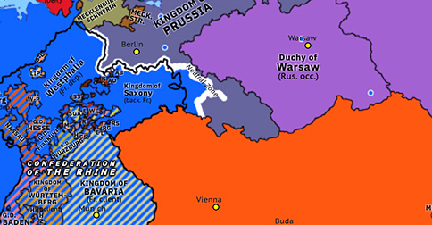 Political map of Northwest Europe on 27 Jun 1813 (Napoleonic Wars: Treaties of Reichenbach), showing the following events: Treaties of Reichenbach; Battle of Vitoria.