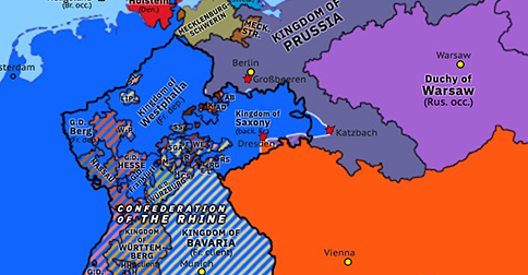 Political map of Northwest Europe on 26 Aug 1813 (Napoleonic Wars: Battle of Dresden), showing the following events: Trachenberg Plan; End of First Serbian Uprising; Battle of the Pyrenees; Austria joins Sixth Coalition; Invasion of Illyrian Provinces; Battle of Großbeeren; Battle of the Katzbach; Battle of Dresden.