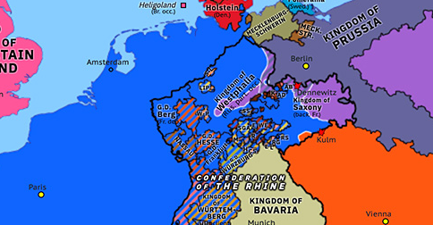 Political map of Northwest Europe on 30 Sep 1813 (Napoleonic Wars: Cossack Raid on Cassel), showing the following events: Battle of Kulm; Battle of Dennewitz; Cossack raid on Cassel.