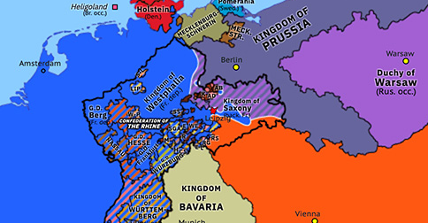 Political map of Northwest Europe on 16 Oct 1813 (Napoleonic Wars: Battle of Leipzig), showing the following events: Battle of the Bidassoa; Treaty of Ried; Battle of Leipzig.