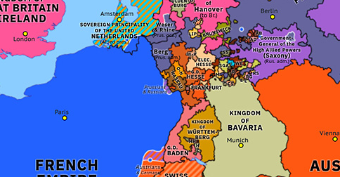 Political map of Northwest Europe on 31 Dec 1813 (Napoleonic Wars: Sixth Coalition invades France), showing the following events: Frankfort Declaration; Catinelli's Tuscan expedition; Treaty of Valençay; Murat's infiltration; Army of Bohemia; Blücher's Rhine Crossing.