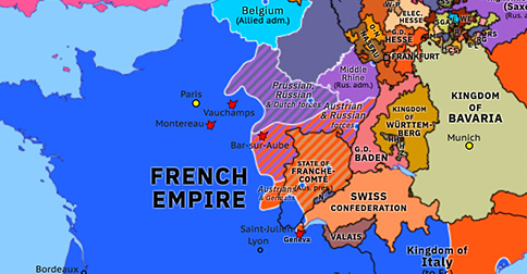 Political map of Northwest Europe on 02 Mar 1814 (Napoleonic Wars: Bar-sur-Aube and Saint-Julien), showing the following events: Battle of Vauchamps; Battle of Montereau; Battle of Bar-sur-Aube; Battle of Orthez; Battle of Saint-Julien.