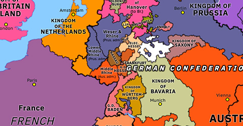 Political map of Northwest Europe on 08 Jun 1815 (Napoleonic Wars: German Confederation), showing the following events: Petite Chouannerie; Congress Saxony; German Confederation.