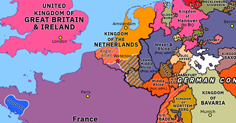 Political map of Northwest Europe on 18 Jun 1815 (Napoleonic Wars: Battle of Waterloo), showing the following events: Final Act of Vienna; Lauenburg exchange; Battle of Waterloo.