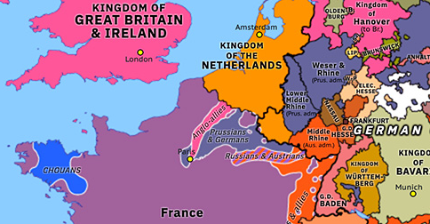 Political map of Northwest Europe on 06 Jul 1815 (Napoleonic Wars: Waterloo to Paris), showing the following events: Waterloo to Paris; Minor campaigns of 1815; Second Abdication of Napoleon; Convention of Saint-Cloud.