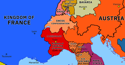 Political map of Northwest Europe on 29 Mar 1821 (Congress Europe: Revolutions of 1820–21), showing the following events: Peterloo Massacre; Carlsbad Decrees; Riego's Revolution; Carbonari Revolution; Congress of Troppau; Congress of Laibach; Wallachian Uprising of 1821; Ypsilantis Rebellion; Carbonari Revolt in Piedmont; Greek Revolution.