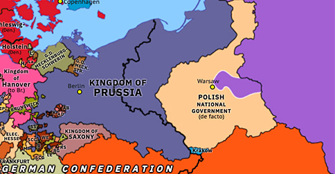 Political map of Northwest Europe on 26 Feb 1831 (Congress Europe: Revolutions of 1830–31), showing the following events: German Revolutions of 1830; November Uprising; London Conference of 1830; Russian invasion of Poland; United Italian Provinces.