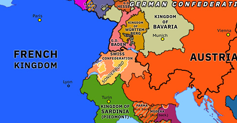Political map of Northwest Europe on 03 Nov 1847 (Congress Europe: Sonderbund War), showing the following events: Treaty of London; Great Famine in Ireland; Galician slaughter; Krakow uprising; Annexation of Krakow; Inheritance of Parma; Sonderbund War.