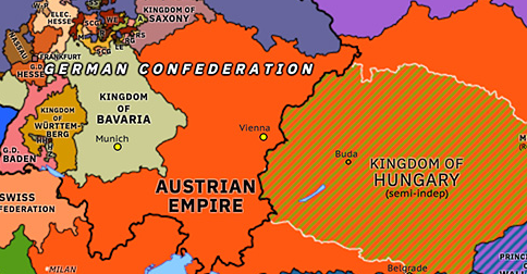 Political map of Northwest Europe on 18 Mar 1848 (The Springtime of Peoples: March Revolutions), showing the following events: Constitutions in the Italian states; French Revolution of 1848; March Revolution in Germany; Republic of Neuchâtel; Fall of Metternich; Hungarian Revolution of 1848; Berlin Uprising; Five days of Milan.