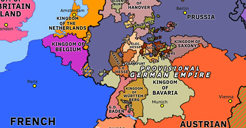 Political map of Northwest Europe on 18 May 1848 (The Springtime of Peoples: Frankfurt Parliament), showing the following events: May insurrections in France; Frankfurt Parliament.