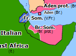 Historical Atlas of Southern Asia 1940: Italian Conquest of British Somaliland