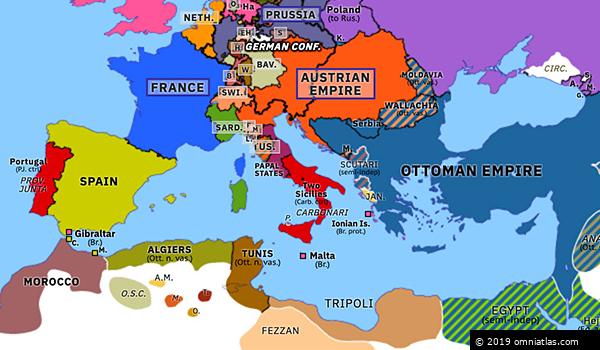 map of europe 1820 Revolutions of 1820 | Historical Atlas of Europe (28 September