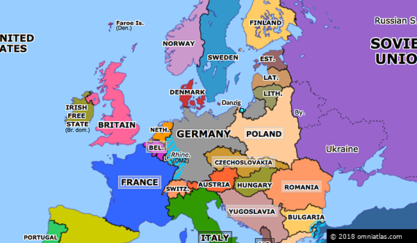 Map Of Europe 1930 Hitler Gains Power | Historical Atlas of Europe (30 January 1933