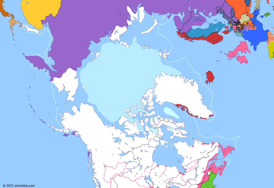 Political map of the Arctic & the Far North on 14 Jan 1814 (The Fur-Trading Empires: Treaty of Kiel), showing the following events: War of 1812; Treaty of Kiel.