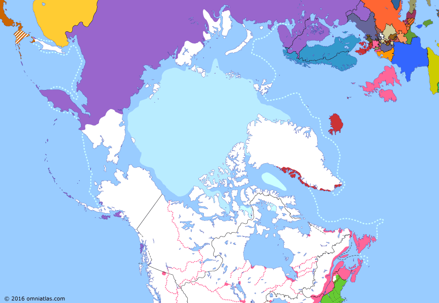 Political map of the Arctic & the Far North on 28 Feb 1825 (Partitioning the North Pacific: Anglo-Russian Convention), showing the following events: Adams–Onís Treaty; Parry's 1819-1820 expedition; Nova Scotia-Cape Breton merger; North West Company Merger Agreement; Russo-American Treaty; Anglo-Russian Convention.